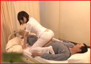 看護婦さんの透けパンにフル勃起した患者に「擦るだけ!」という約束で素股したら・・・ヌルッと挿入!